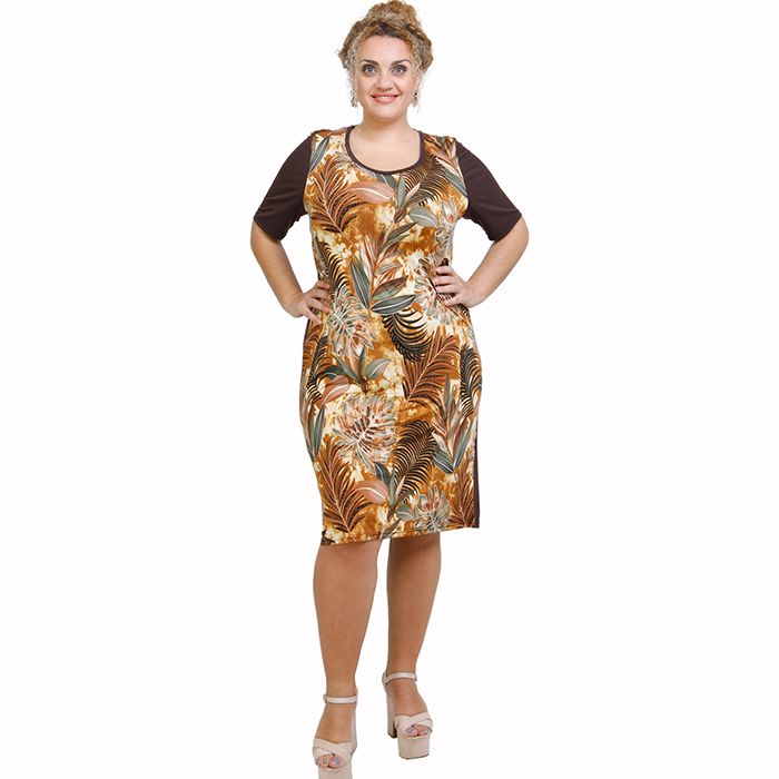 A21-7800V Jersey Dress in classic line - Brown