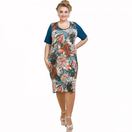 A21-7800V Jersey Dress in classic line - Petrol