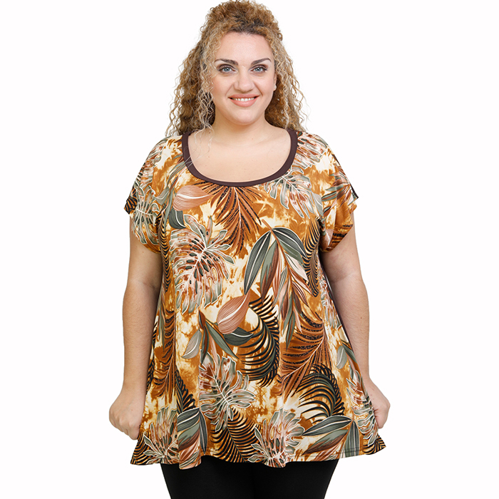 A21-7809 Alpha Blouse with pattern - Brown