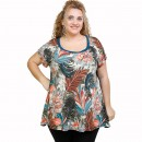 A21-7809 Alpha Blouse with pattern - Petrol