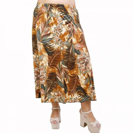 A21-7860 Jersey Closh Skirt with elastic band - Brown