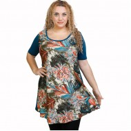 A21-7876 Evaze Blouzedress with pattern - Petrol