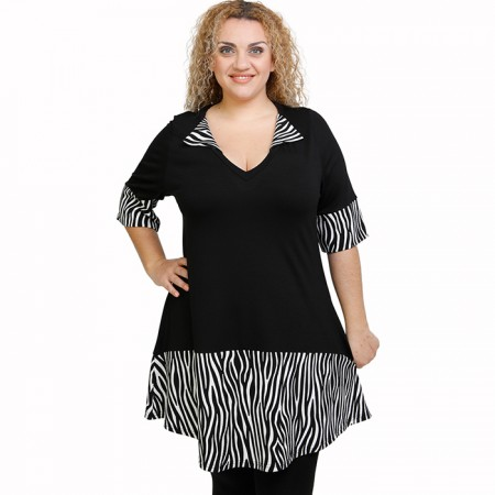 A21-7920 Blousedress with pattern - Black