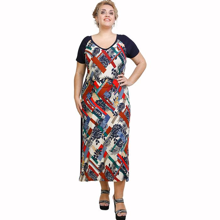 A21-8323FK Long Jersey Dress with pattern