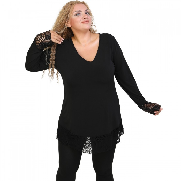 B20-108LDV Jersey blouse with lace