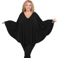 B20-112 Jersey Umbrella Blouse - Black