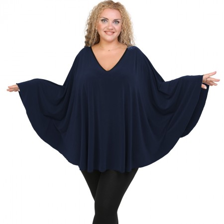 B20-112 Jersey Umbrella Blouse - Blue Marin