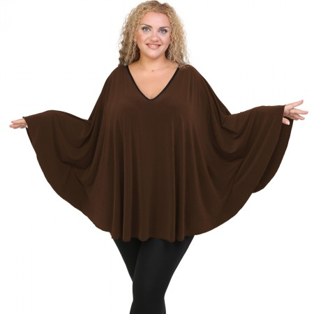 B20-112 Jersey Umbrella Blouse - Brown