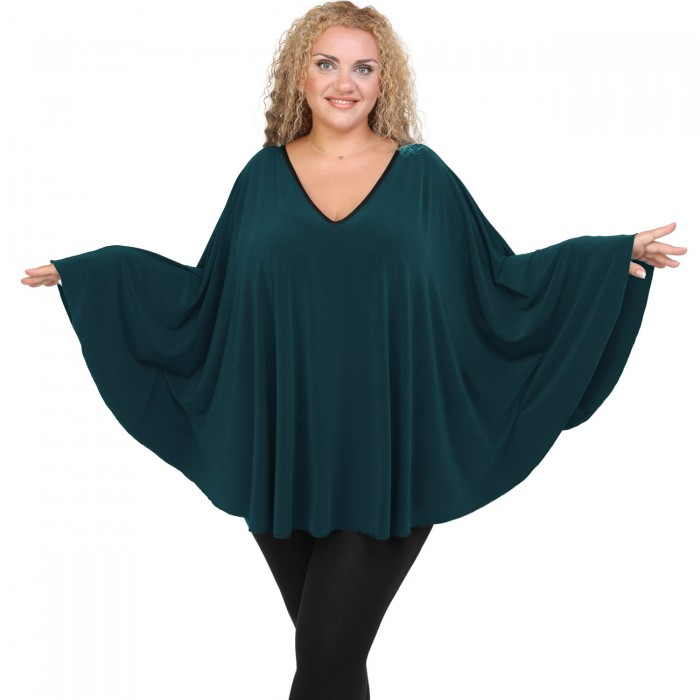 B20-112 Jersey Umbrella Blouse - Petrol