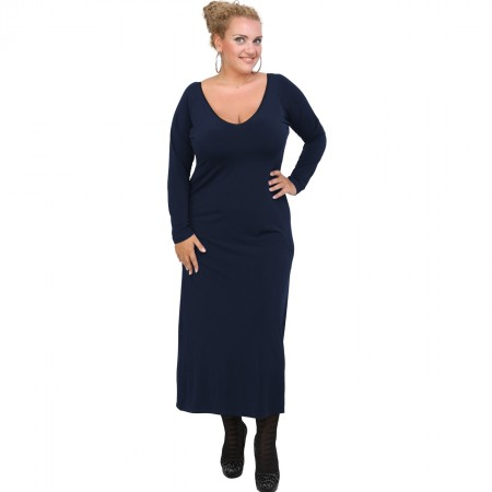 B20-123FK Long Jersey Dress - Blue-marin