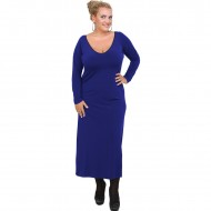 B20-123FK Long Jersey Dress - Blue-roi