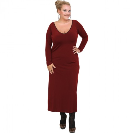 B20-123FK Long Jersey Dress - Bordeaux