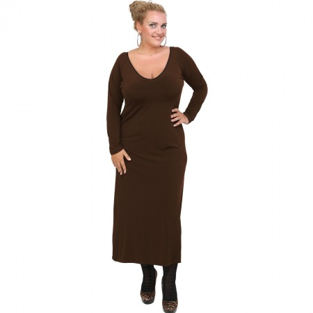 B20-123FK Long Jersey Dress - Brown