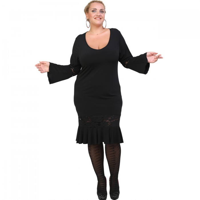 B20-125FD Jersey Dress with volan hem and lace