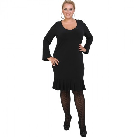 B20-125F Jersey Dress with volan hem - Black
