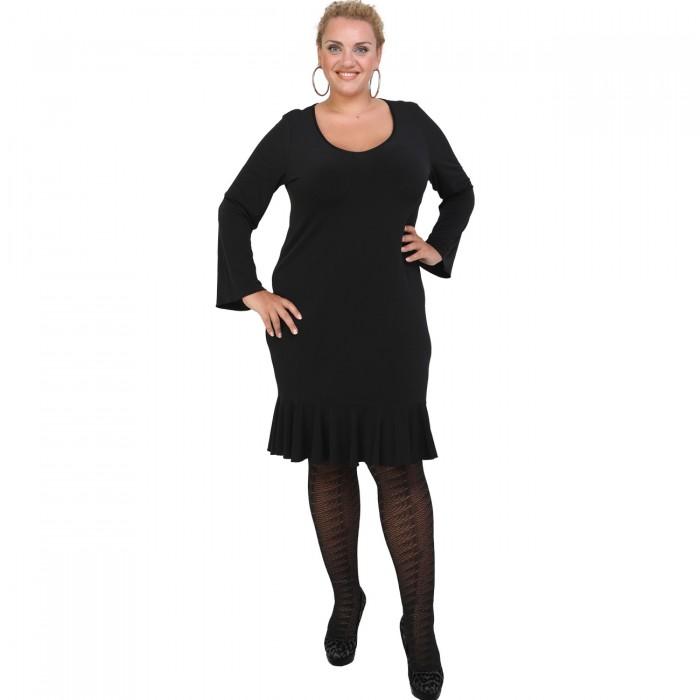 B20-125F Jersey Dress with volan hem - Black