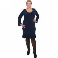 B20-125F Jersey Dress with volan hem - Blue-marin