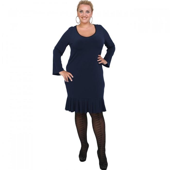 B20-125F Jersey Dress with volan hem - Blue-marin