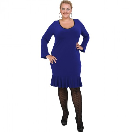 B20-125F Jersey Dress with volan hem - Blue-roi