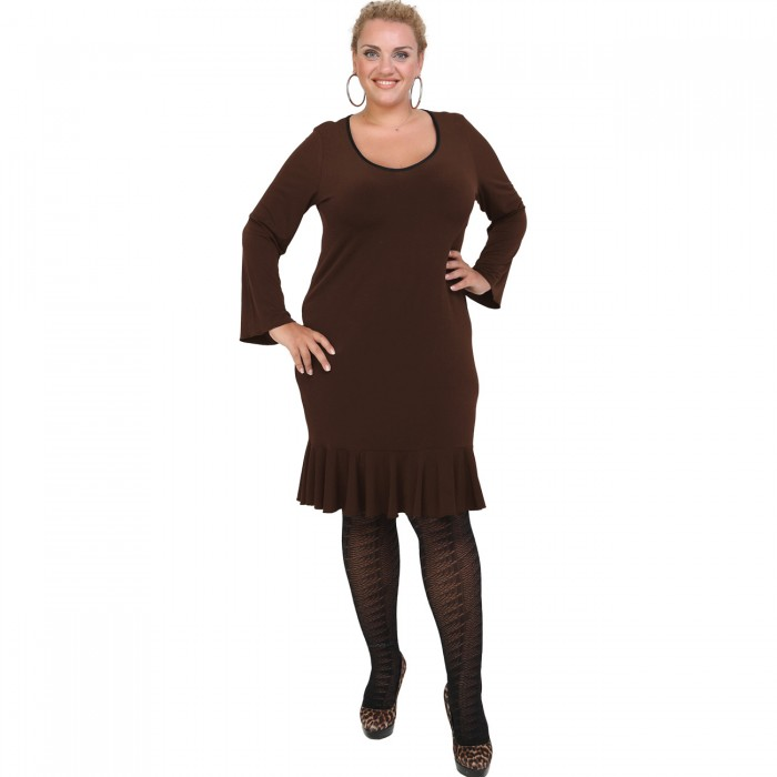 B20-125F Jersey Dress with volan hem - Brown