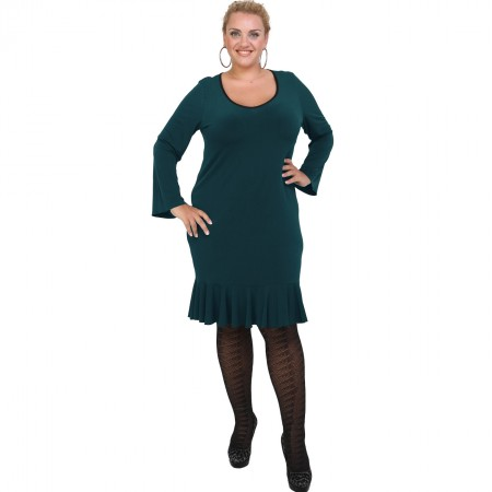 B20-125F Jersey Dress with volan hem - Petrol
