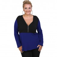 B20-190D Jersey Blouse with zipper - Blue-roi