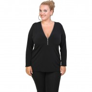 B20-190 Jersey Blouse with zipper - Black