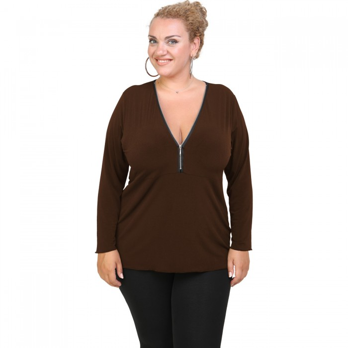 B20-190 Jersey Blouse with zipper - Brown