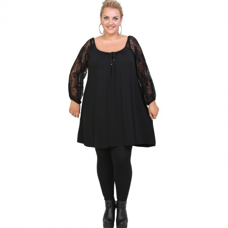 B20-245D Blousedress with lace sleeves