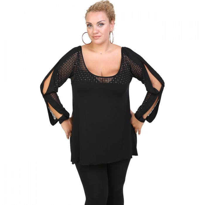 B20-2726 Alpha Blouse with tulle