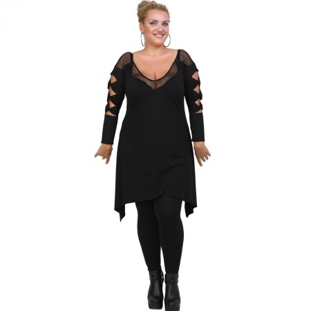 B20-282D Evaze Blousedress with laser sleeves