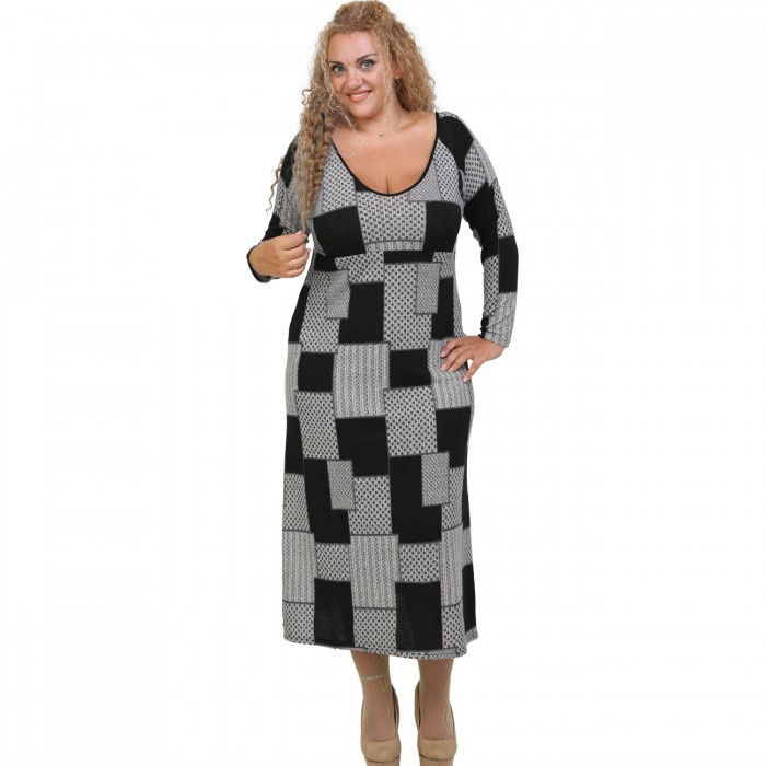 B20-5823FK Long Knitted Dress with pattern