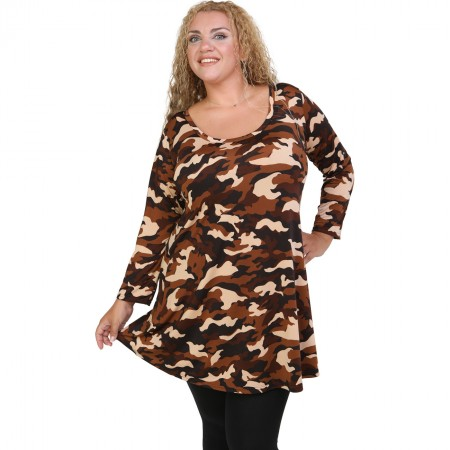 B20-6376 Jersey Blousedress with camo pattern