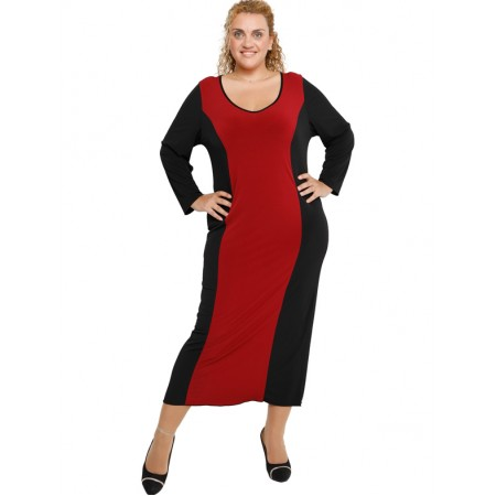 B19-131F Long Dress Black - Bordeaux