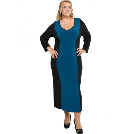 B19-131F Long Dress Black - Petrol