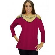 B19-223 Classic blouse with V neck - Fuchsia