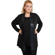 B19-2240 Classic formal cardigan - Blue - Black