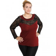 B19-247D Classic blouse with lace - Bordeaux
