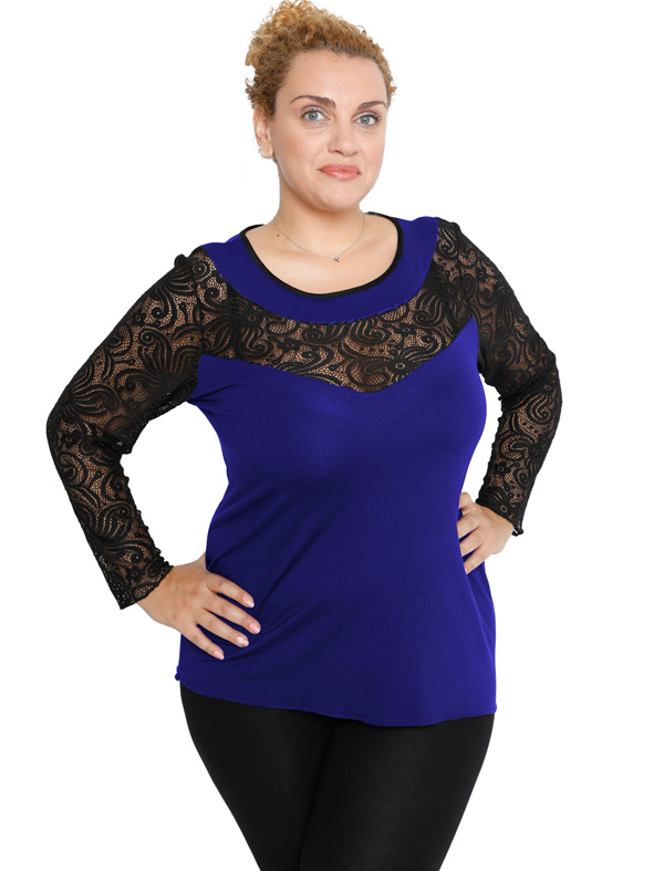 B19-247D Classic blouse with lace - Royal Blue