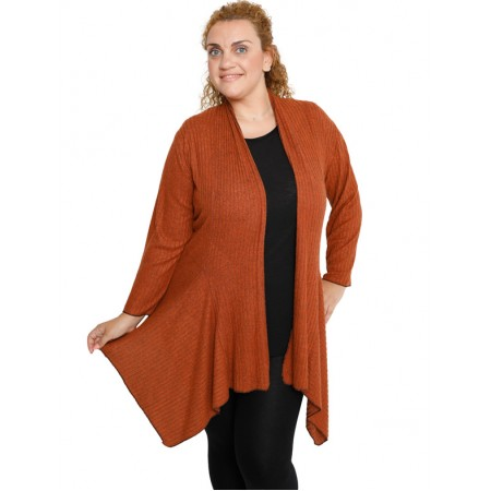 B19-2541 Alpha asymmetric cardigan  - Rust