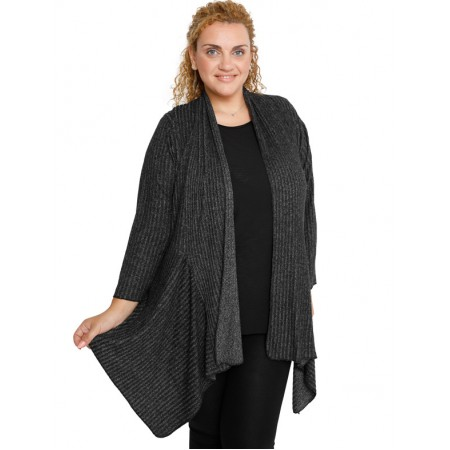 B19-2541 Alpha asymmetric cardigan  - Grey