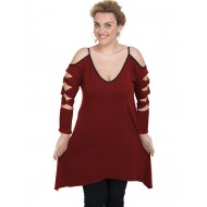 B19-282 Evaze blousedress - Bordeaux