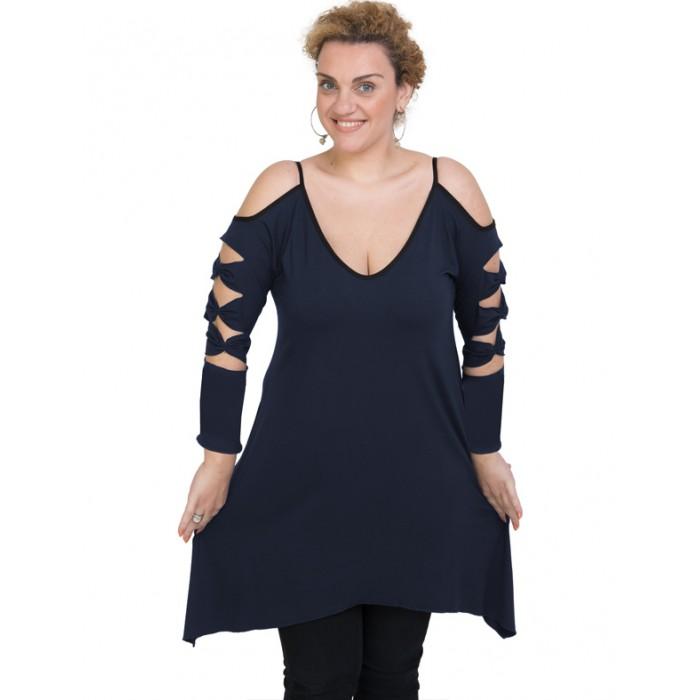 B19-282 Evaze blousedress - Navy Blue