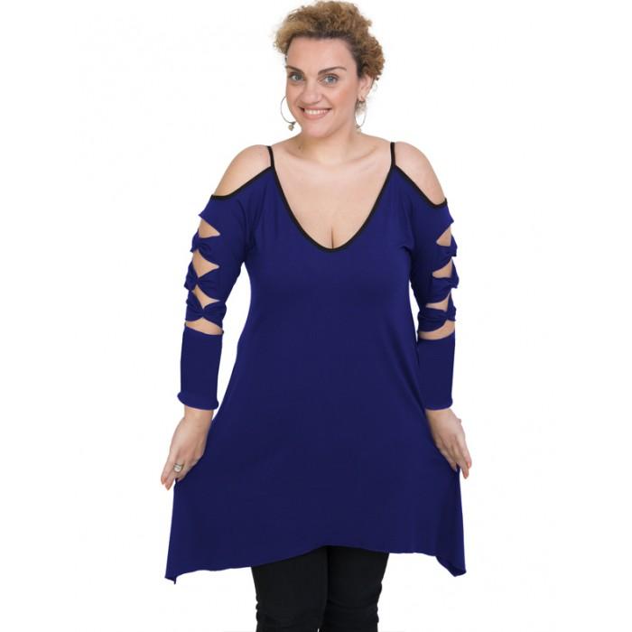 B19-282 Evaze blousedress - Royal Blue