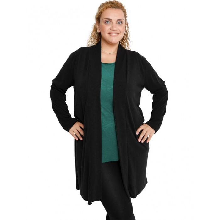 B19-342 Classic long cardigan - Black