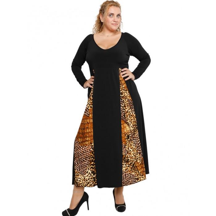 B19-3724F Dress with pattrn and stripes - Rust