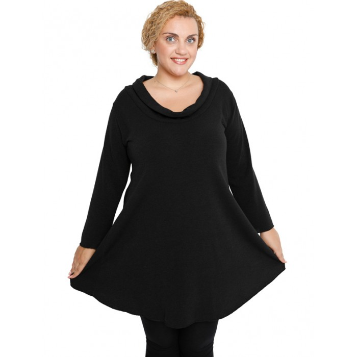 B19-375 Knitted evaze blousedress - Black