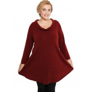 B19-375 Knitted evaze blousedress - Bordeaux