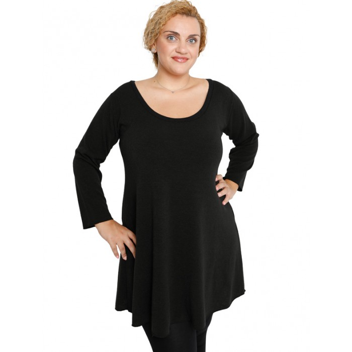 B19-376 Knitted evaze blousedress - Black