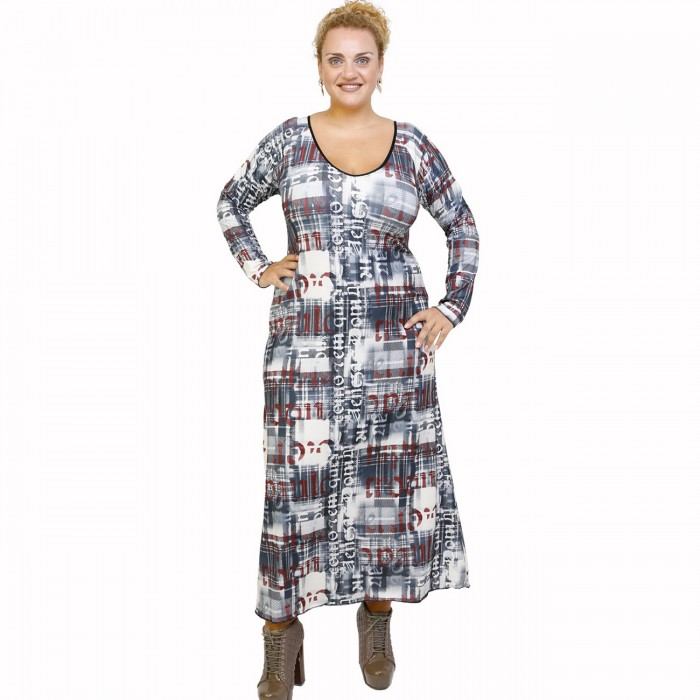B21-1023FK Long dress with pattern